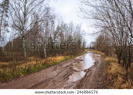 Season of bad roads. Autumn roads around Palekh, Vladimir region, Russia - stock photo