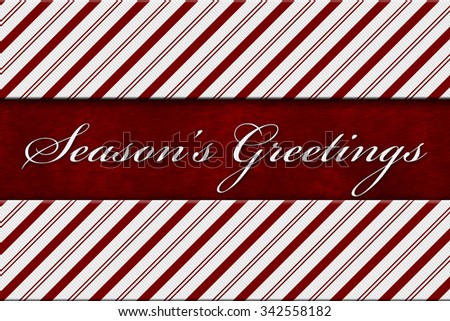 Seasons greetings message red white candy stock illustration seasons greetings message red and white candy cane stripe background with red plush and text m4hsunfo