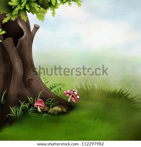 Season tree with green leaves - stock photo