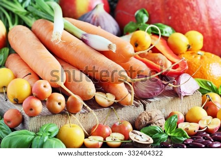 Seasonal autumn fruits and vegetables.Concept of healthy eating.Selective focus - stock photo