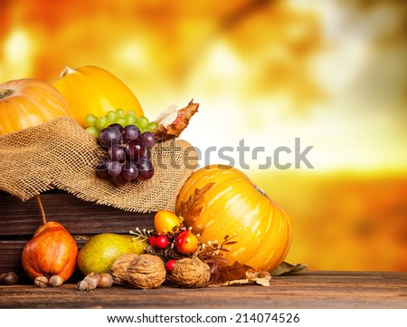 Seasonal harvested agriculture products in wooden box with blur background - stock photo