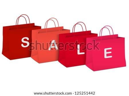 Seasonal sale - shopping bags.Raster version - stock photo