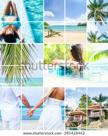 Seasonal summer pictures: Resorts, sea, pool, villas and palms. Love, relaxation and traveling concept.