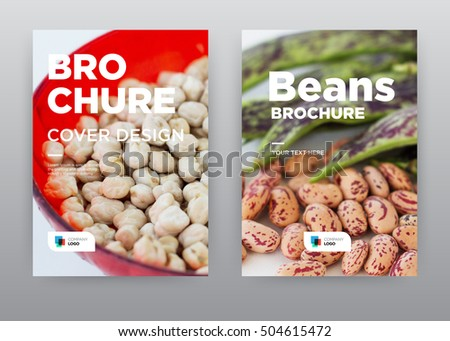 Seasoning white background Green and beans On Dish Food Kitchen Trend annual report journal magazine banner poster brochure flyer design template, Leaflet cover presentation, layout in A4 size