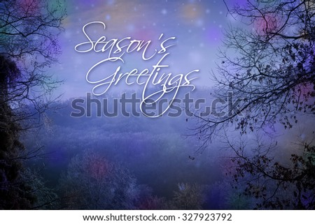 Seasons Greetings card with winter background. - stock photo