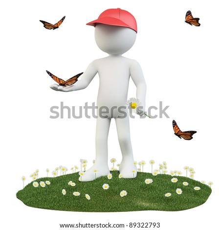 Seasons. Spring. Man with a flower and a butterfly on hand - stock photo