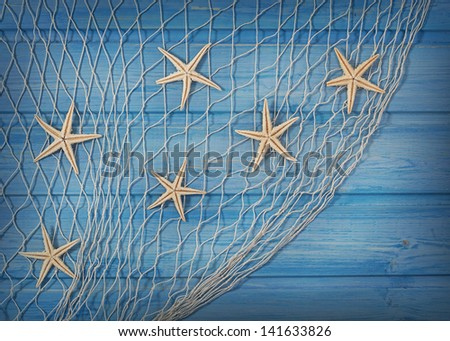Seastars on the fishing net on a blue background - stock photo
