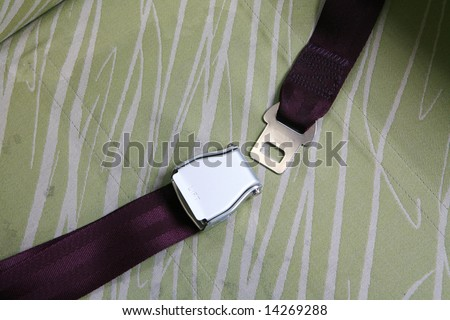 seat belt in airplane - stock photo