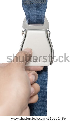 seat belt in plane isolated - stock photo
