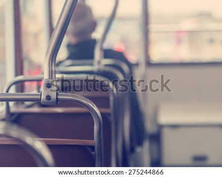 seat in retro bus. With retro toning - stock photo