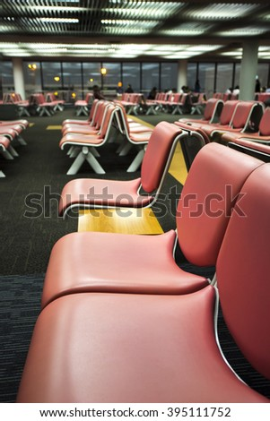 Seat row in airport - stock photo