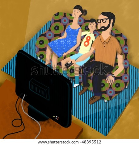 seated parents and son in the sofa watch the TV - stock photo
