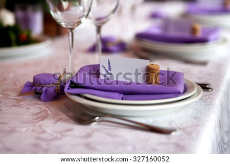 Seating card for wedding table - stock photo