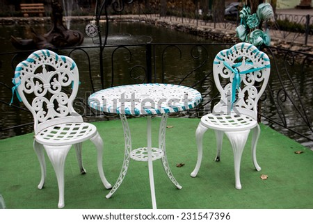 seats and tables near - stock photo