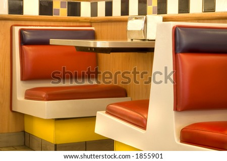 Seats in a diner. - stock photo