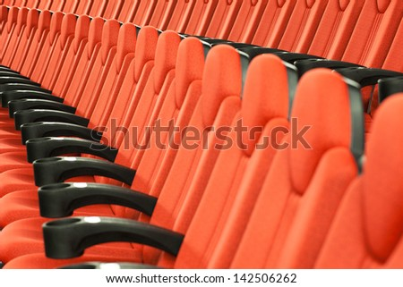 Seats In Big Modern Movie Theater. - stock photo