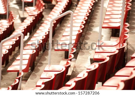 Seats in stadium.