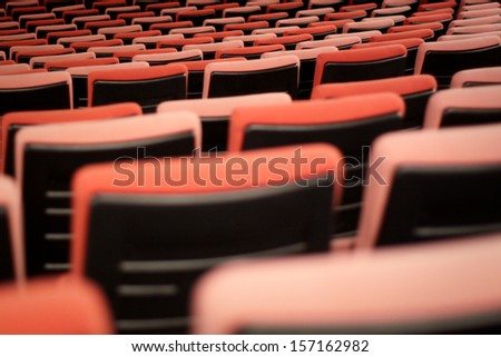 Seats in the cinema at the performence - stock photo