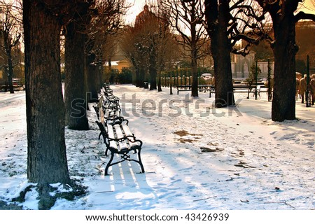 Seats in the Vienna nation garden in the horizontal format - stock photo
