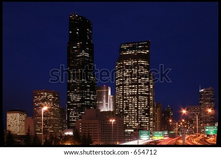 Seattle at night - stock photo