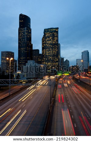 Seattle at Night. Downtown Seattle, Washington over Interstate 5 during the commute hours.  - stock photo