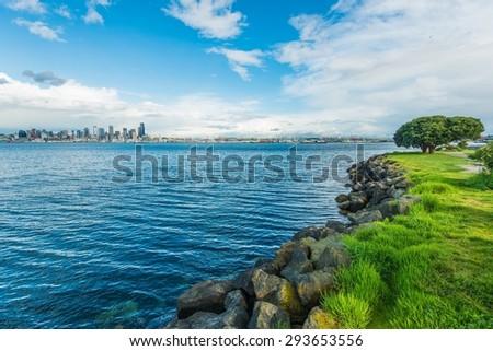 Seattle Bay and the City Skyline. Seattle, Washington, United States. - stock photo