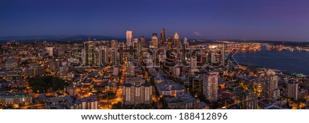 Seattle city nightlife after sunset from the Space Needle in the warm summer day - stock photo