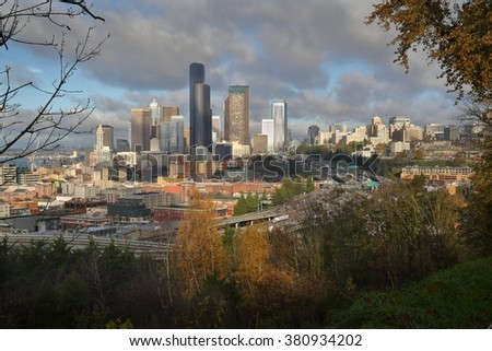 Seattle Downtown and Freeways, United States. Downtown Seattle skyline with freeways in the foreground and Elliott Bay in the background. Washington State, USA.  - stock photo