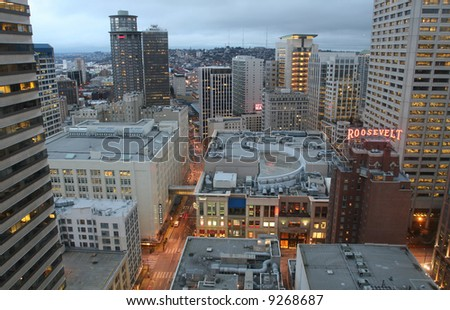 Seattle Downtown At Dusk - stock photo