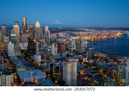 Seattle downtown in night lights - stock photo