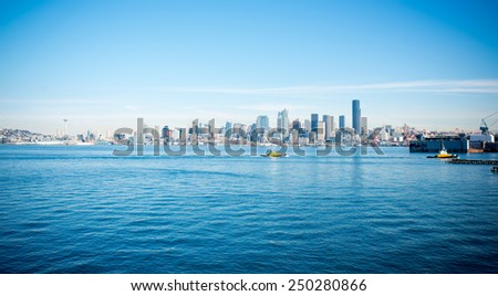 Seattle Downtown View from Across Elliott Bay - stock photo