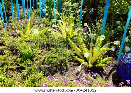 SEATTLE - JUL 23, 2015 - Blown glass ferns in the  Chihuly Garden and Glass Museum,  Seattle, Washington - stock photo