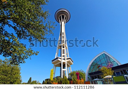SEATTLE - JULY 21 : Seattle Space Needle on July 21, 2012 in Seattle. The Space Needle was built for the 1962 World's Fair. - stock photo