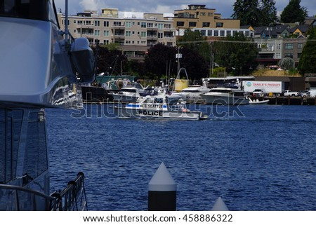 SEATTLE - JUN 16, 2016 - Police boat on patrol on  Lake Union