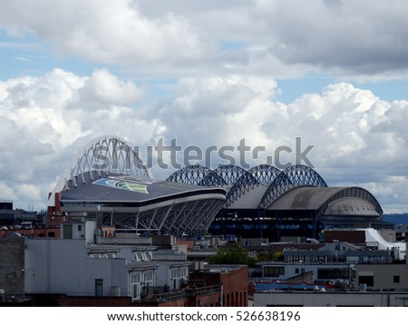 SEATTLE - JUNE 24: CenturyLink and Safeco Field on a cloudy day, Seattle in June 24, 2016. Home of the Seattle Seahawks (NFL), Mariners (MLB) and Sounders (MLS).