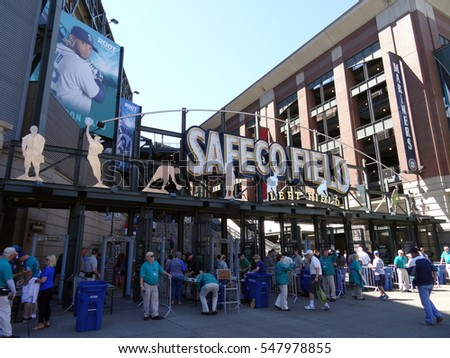 SEATTLE - JUNE 26: People enter into Left Field Gate to Safeco Field in Seattle in June 26, 2016. Home of the Seattle Mariners
