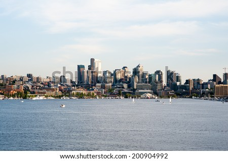 SEATTLE - MAY 11: A late afternoon view of Seattle with Lake Union in the foreground on May 11, 2014. - stock photo