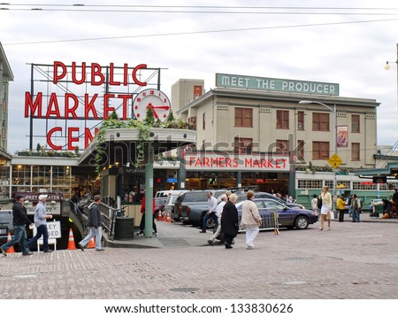 SEATTLE - OCTOBER 7: Public Market in Seattle on October 7, 2011.  The Market opened August 17, 1907, and is one of the oldest continually operated public farmers' markets in the United States. - stock photo