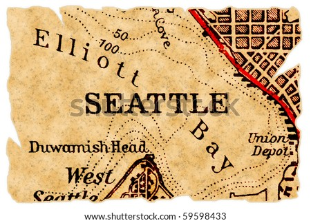 Seattle on an old torn map, isolated. Part of the old map series. - stock photo