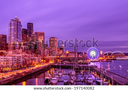 Seattle Pier 66 and big wheel. - stock photo