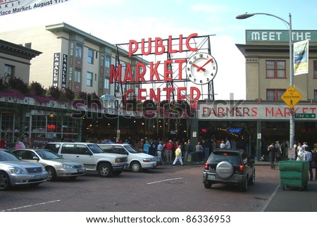 SEATTLE - SEPTEMBER 15: Entrance to the Pike Place Market on September 15, 2007 in Seattle, Washington. The market opened in 1907 and is still a major tourist attraction on the Seattle waterfront. - stock photo