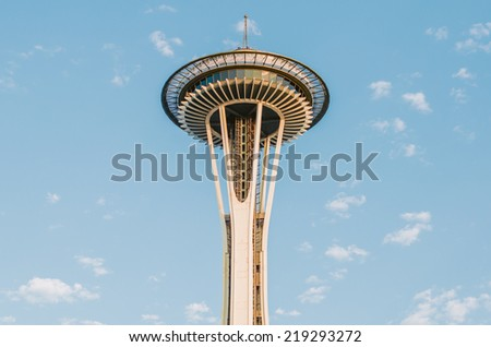 SEATTLE - SEPTEMBER 9: Famous Space Needle on September 9, 2014 in Seattle, WA. It's an observation tower in Seattle, Washington, a landmark of the Pacific Northwest, and a symbol of Seattle. - stock photo