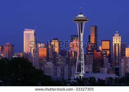 Seattle skyline after sunset from Kerry Park - stock photo
