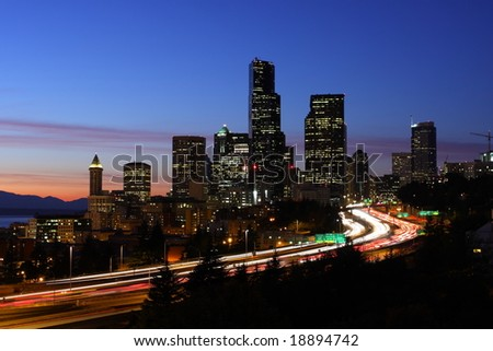 Seattle skyline and traffic - stock photo