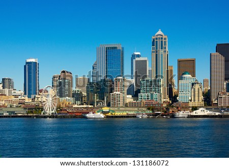 Seattle skyline and waterfront view, Washington state - stock photo