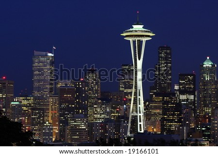 Seattle Skyline at Dawn from Kerry Park - stock photo