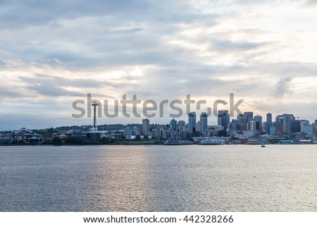 Seattle skyline at dawn from the sea - stock photo