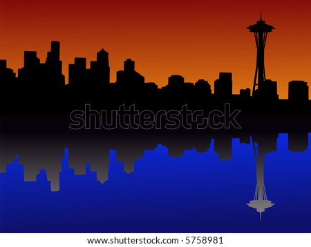 Seattle skyline at dusk reflected in water JPG - stock photo