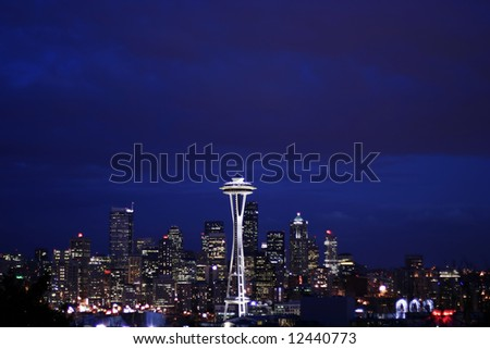 Seattle skyline at night from Queen Anne with Large Sky right after sunset
