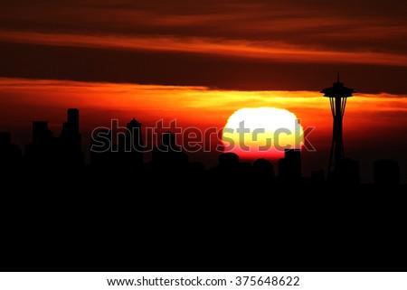 Seattle skyline at sunset illustration - stock photo